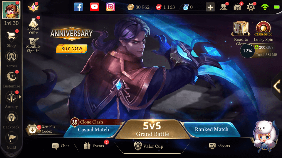 [Europe] Arena Of Valor Account 30 Level + 80000 Gold + 17 Heroes + 1000 Gems