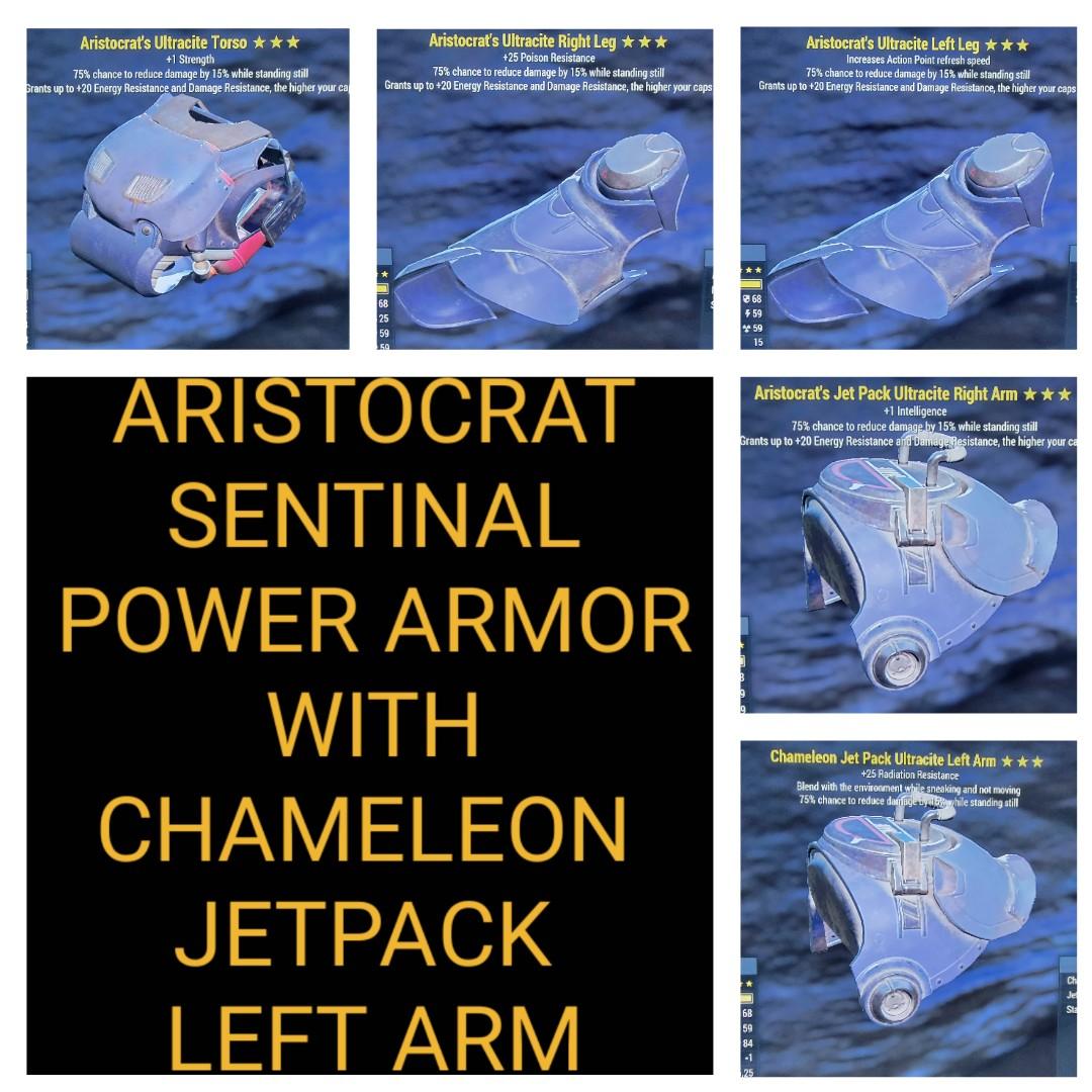 Aristocrat Sentinal Power Armor Set With Chameleon Jetpack Left Arm