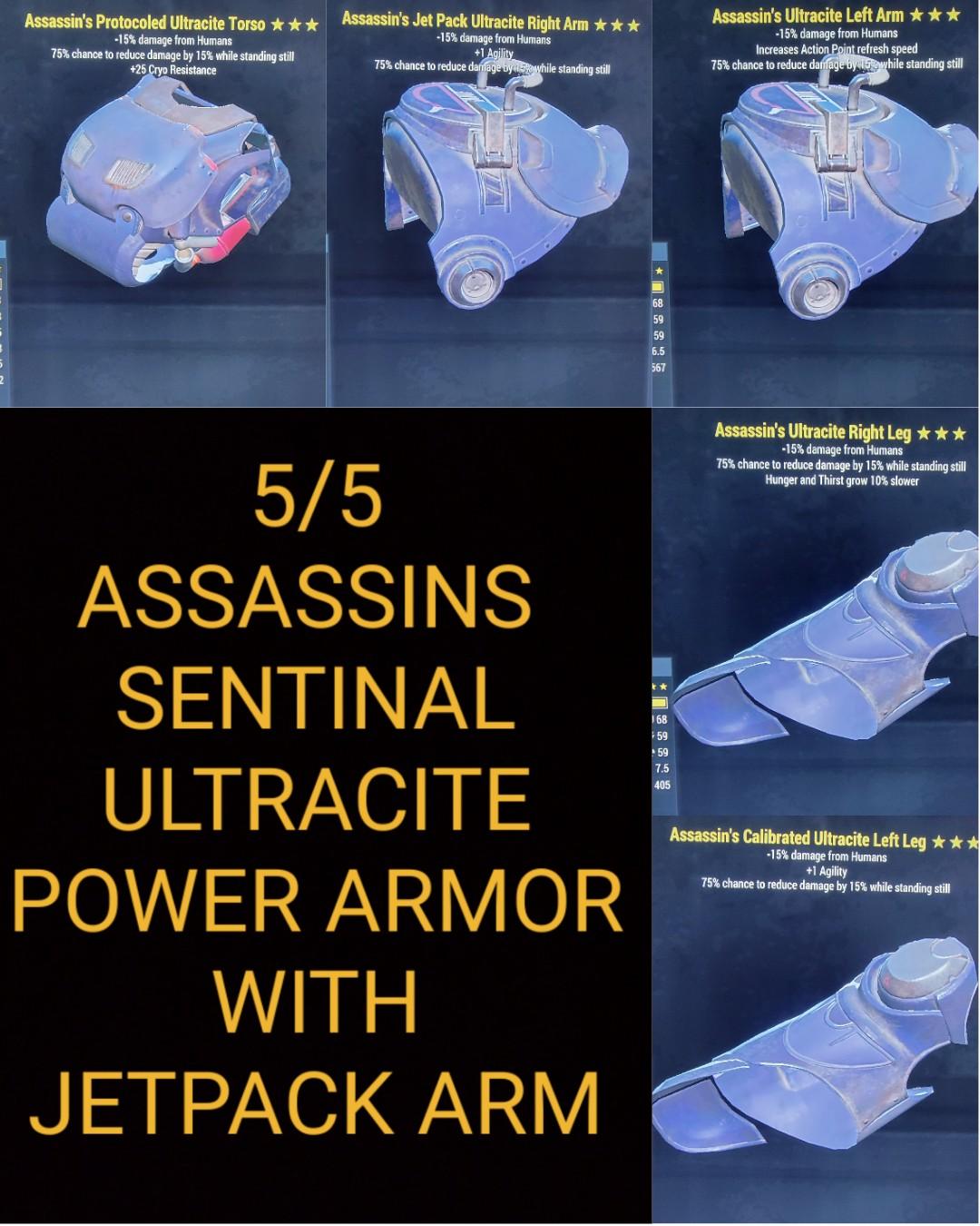 Assassins Sentinal Ultracite Power Armor Set With Jetpack Arm