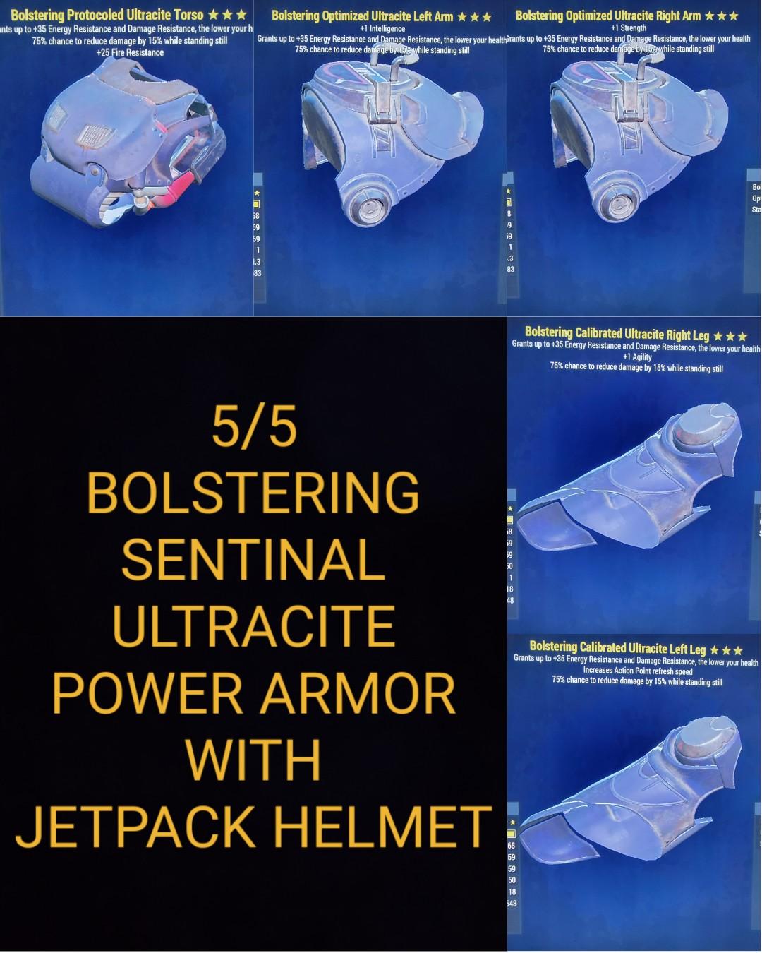 Bolstering Sentinal Ultracite Power Armor Set With Jetpack Helmet