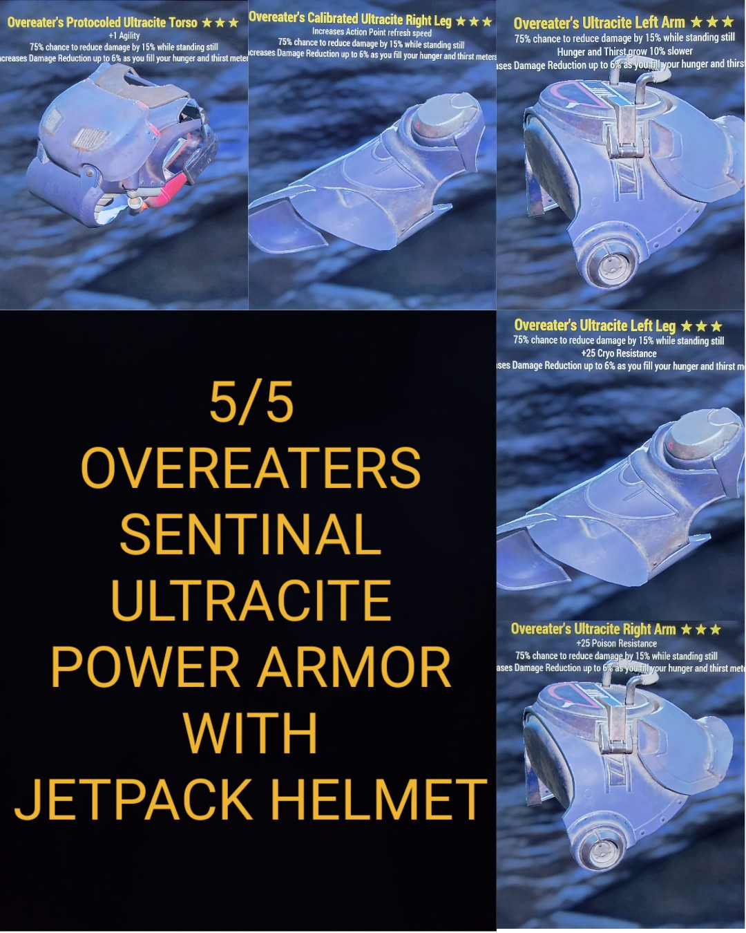 Overeaters Sentinal Ultracite Power Armor Set With Jetpack Helment