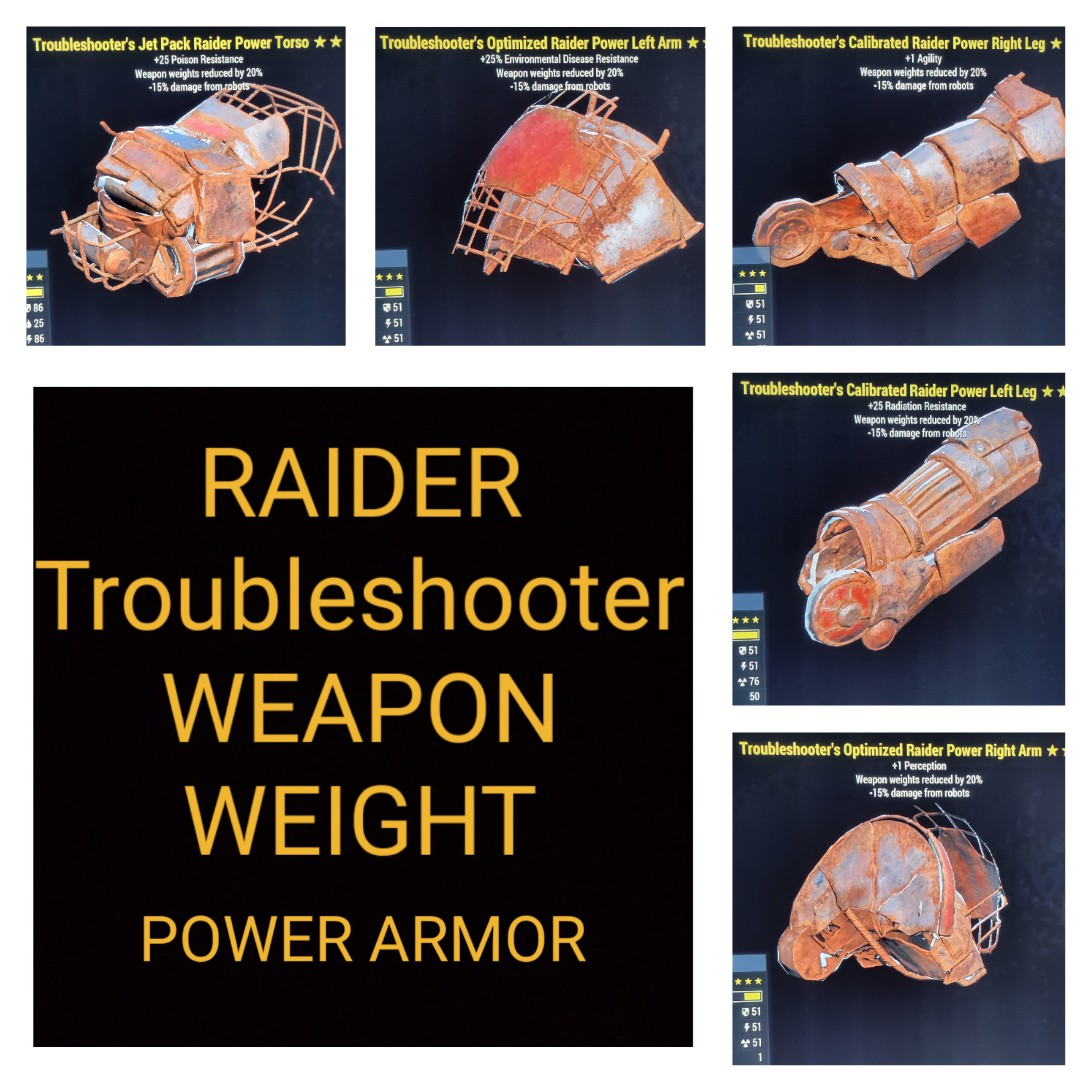 Raider Troubleshooter Weapon Weight Power Armor Set
