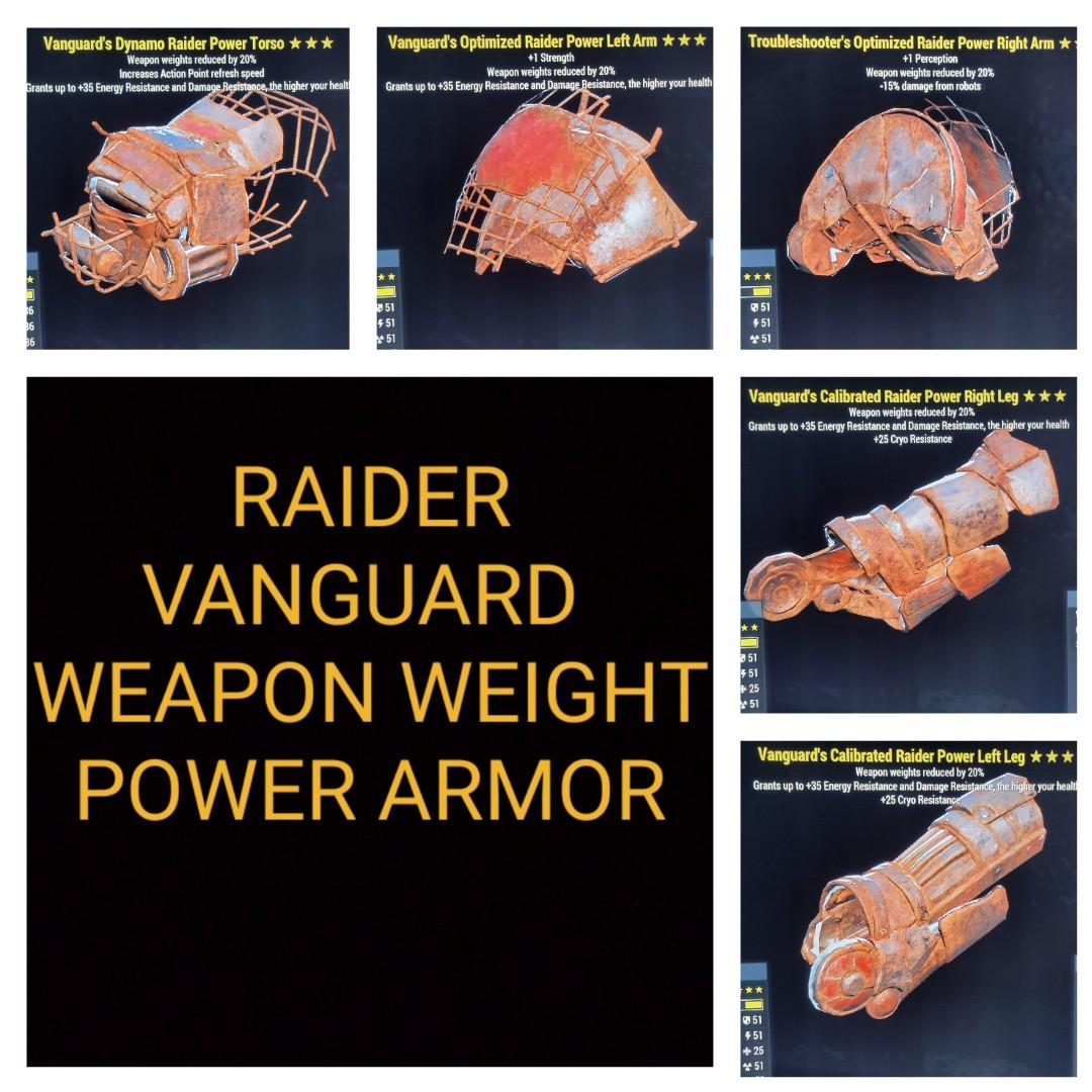 Raider Vanguard Weapon Weight Power Armor Set