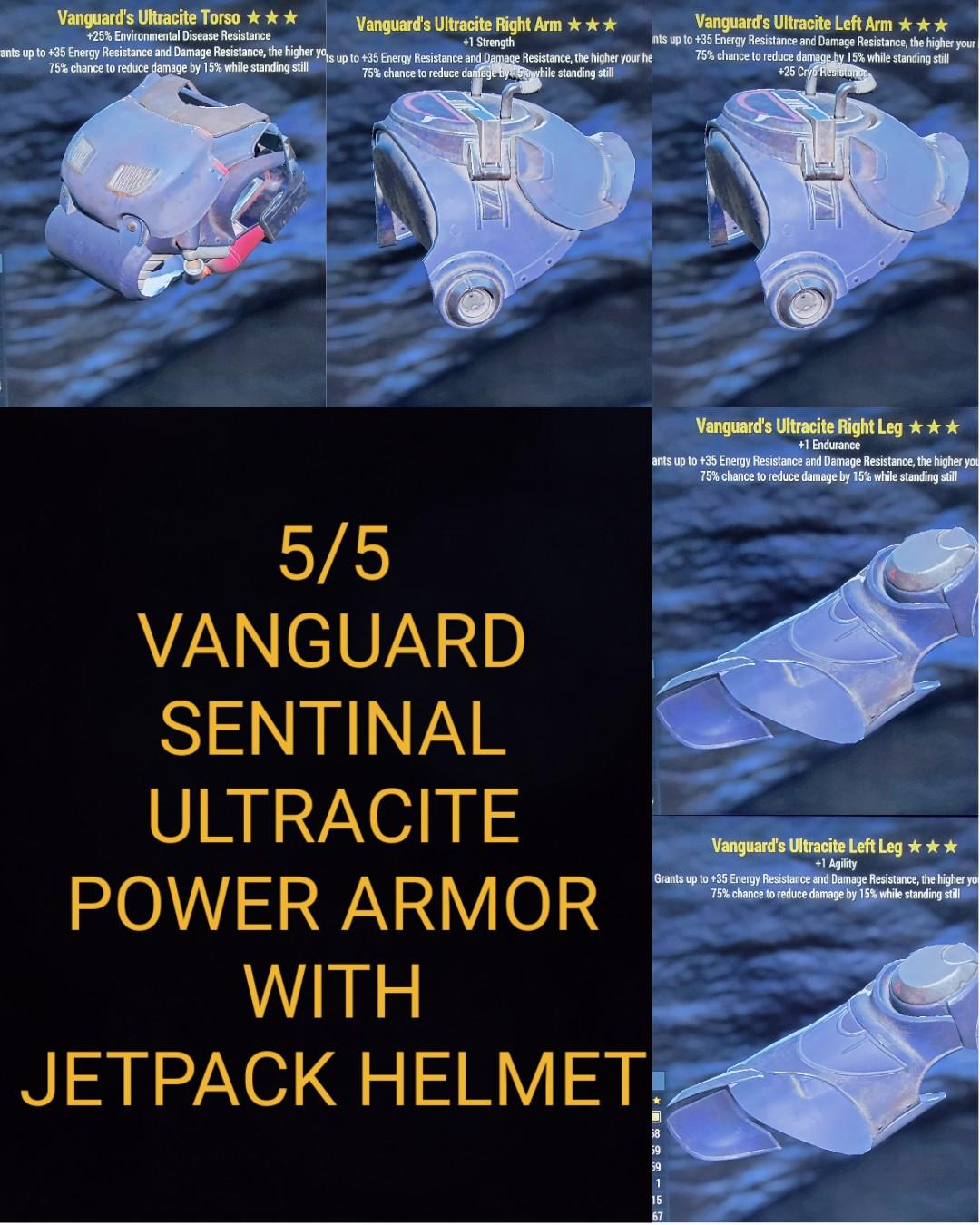 Vanguard Sentinal Ultracite Power Armor Set With Jetpack Helmet