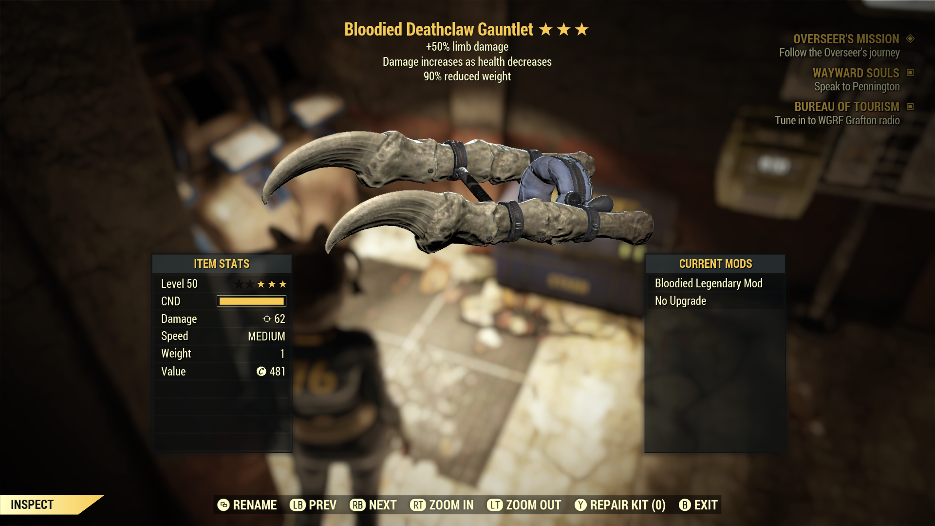 (New86)Bloodied Deathclaw Gauntlet - Level 50
