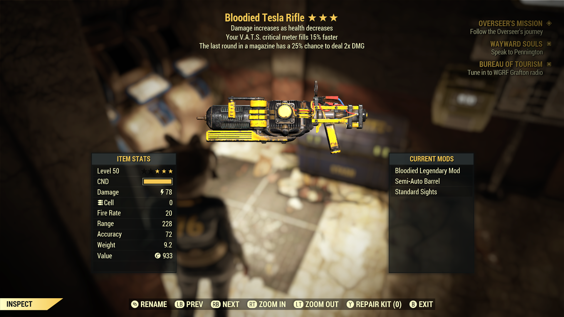 (New86)Bloodied Tesla Rifle - Level 50