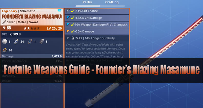 Fortnite Founder's Blazing Masamune Guide