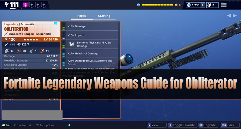 Fortnite Legendary Weapons Guide for Obliterator