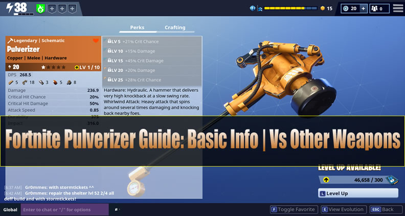 Fortnite Pulverizer Guide: Basic Info | Vs Other Weapons