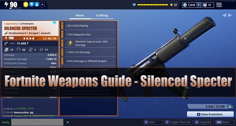 Fortnite Weapons Guide - Silenced Specter
