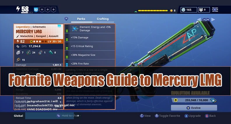 Fortnite Weapons Guide to Mercury LMG