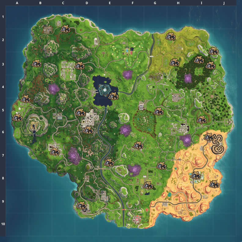 Locations for the New Fortnite Quadcrasher