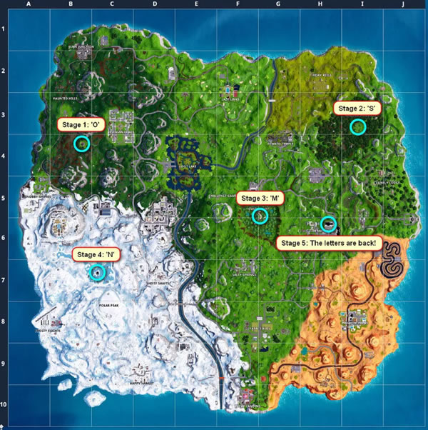 Fortnite Letter and Stage Locations