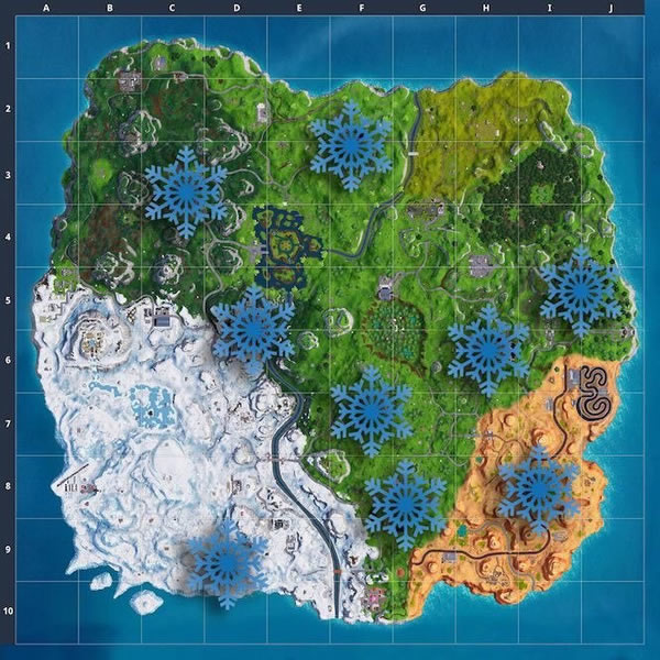 Fortnite Snowflake Decorations locations
