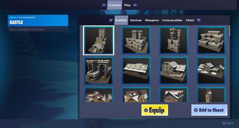 fortnite creative assets menu
