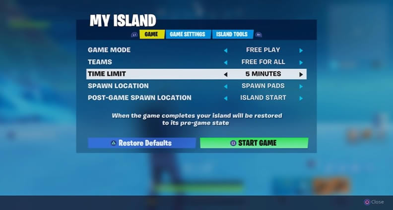 fortnite creative island menu