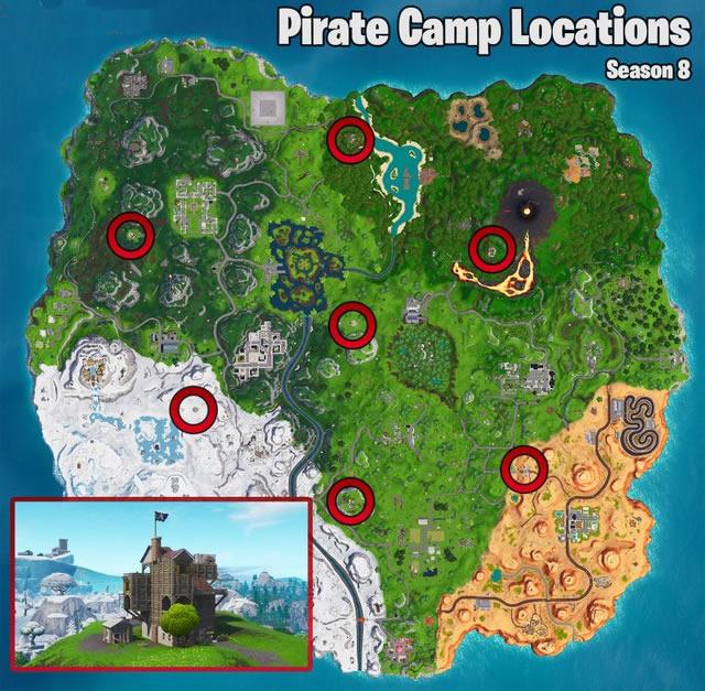 Fortnite Season 8 | Zipline Map and Visit Pirate Camps ...