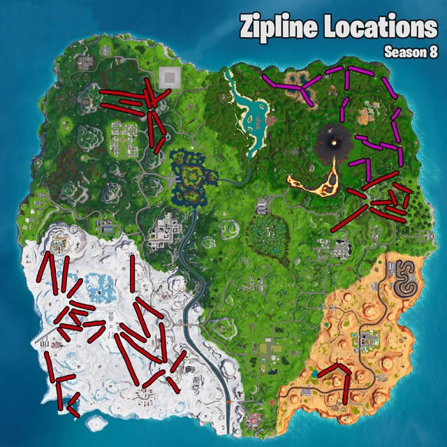 Fortnite Season 8 Zipline Locations