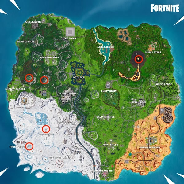 fortnite 5 highest elevations on the island