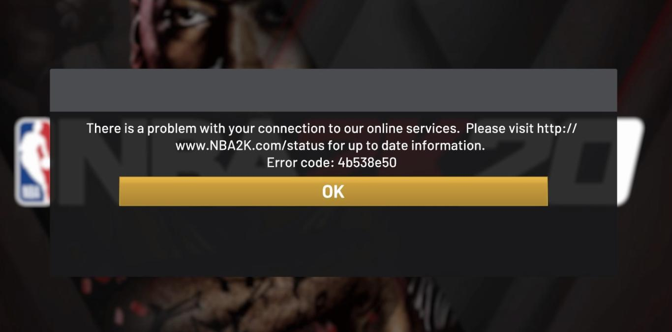 Error Code 4B538E50 in NBA 2K20