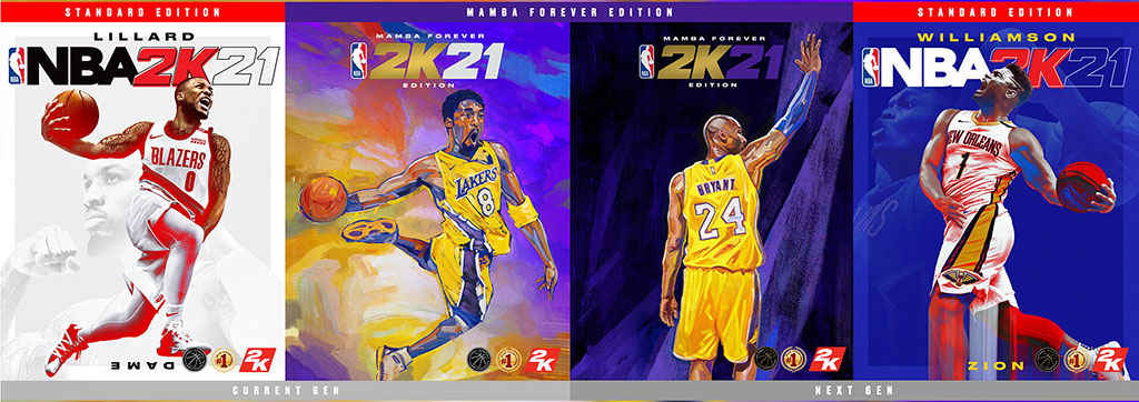 NBA 2K21 - Zion Williamson, Damian Lillard, Kobe Bryant