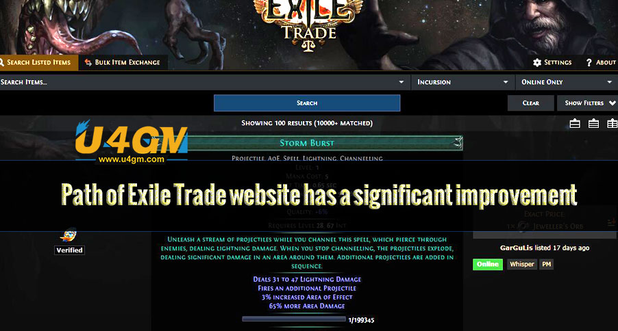 Path of Exile Trade website has a significant improvement