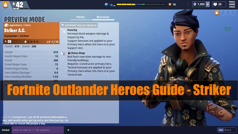 Fortnite Outlander Heroes Guide - Striker (Skin & Perks & Abilities)
