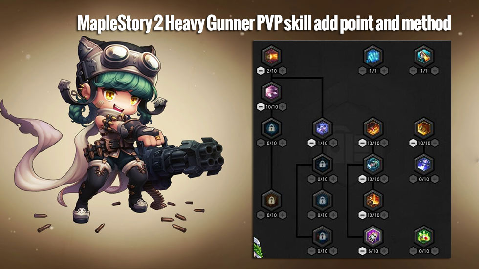 MapleStory 2 Heavy Gunner PVP skill add point and method