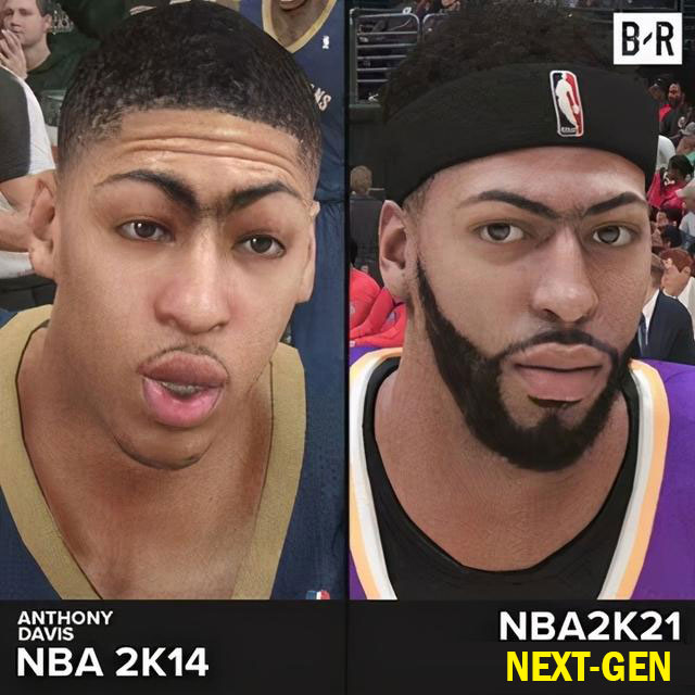 Comparison pictures of NBA 2K14 and NBA 2K21 player Faces